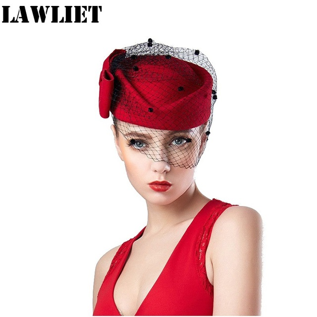 T166 NEW Red Veil Womens Fascinator Pillbox Felt Wool Cocktail Race Hat Formal Dress