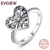 EVOJEW Authentic 100 925 Sterling Silver Love Heart Finger Rings For Women Clear Cubic Zirconia Romantic