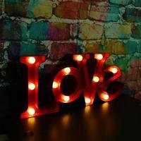 Tường lãng mạn Đèn 3D TÌNH YÊU Thư Hình Dạng lights Battery Operated LED Night Ánh Sáng Wedding Party Valentine Day Trang Trí