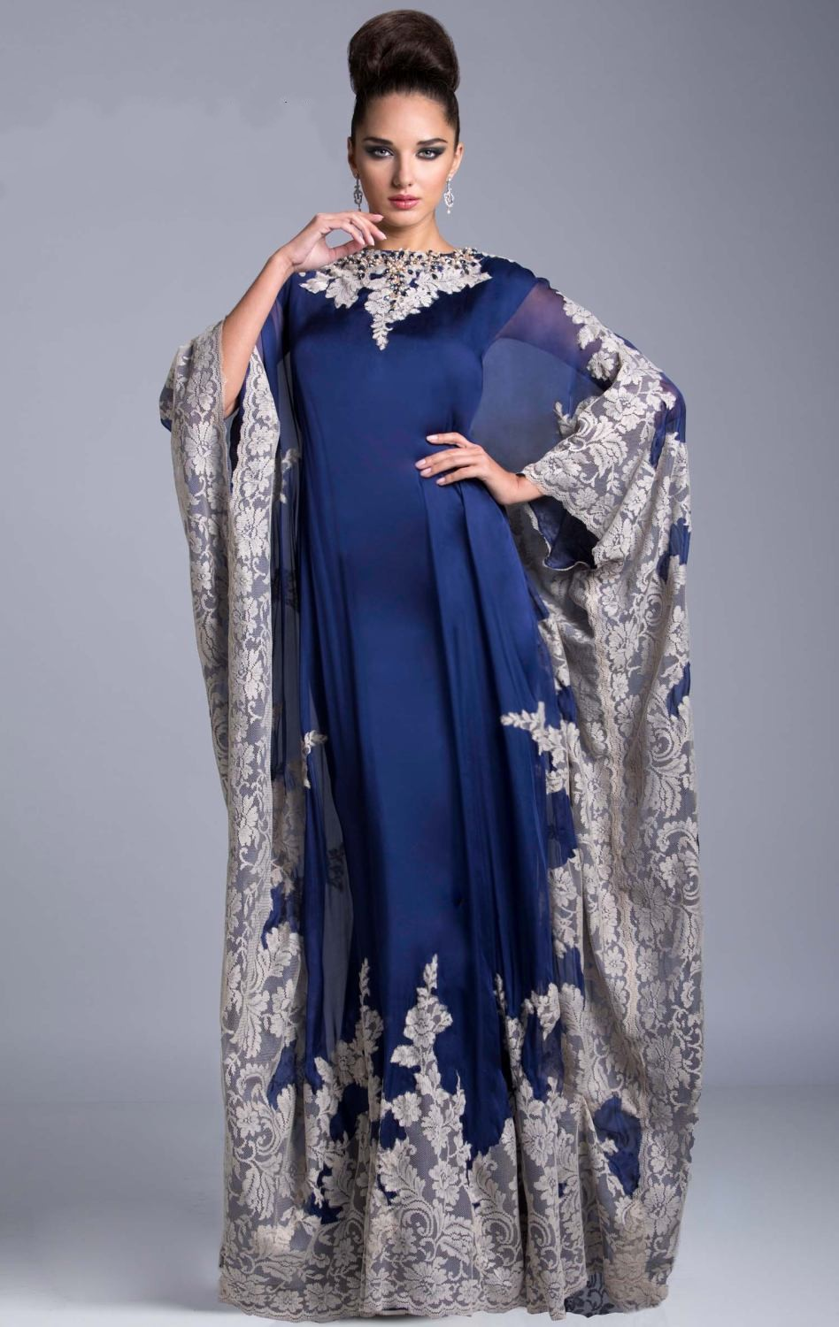 Custom Made Real Samples Arabic Kaftan Royal Blue Evening Prom Dresses 2015 Emboridery Abaya Dubai Chiffon Mother Of The Bride