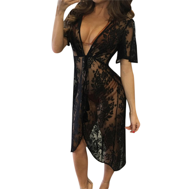 Floral embroidery beach cover up women bikini