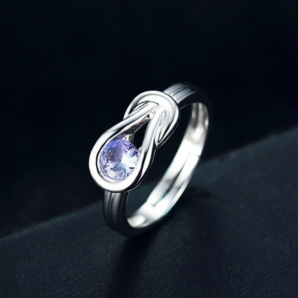Kurve Echte Natürliche 2.9ct Blau Tanzanite 925 Sterling Silber Einstellbare Ring
