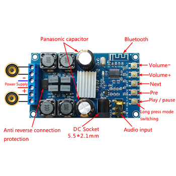 Bluetooth Digital Amplifier Board Dual Channel 50W * 2 Audio Amplifier with Shell without POP sound