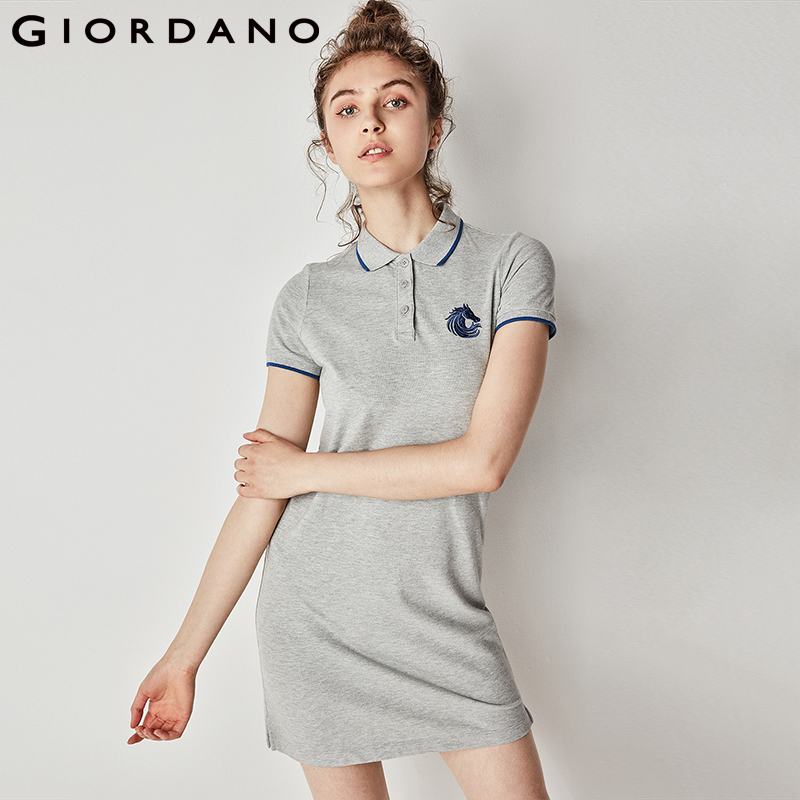 Giordano Women Dress Embroidery Pattern Dresses Women Clothing Short Sleeves Turn Down Collar Polo Dress 2018 Casual Brand Dress