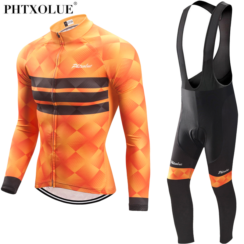 Phtxolue Cycling Clothing Men Set Bike Clothing Breathable Anti-UV Bicycle Wear Kit Suit Long Sleeve Cycling Jersey Sets