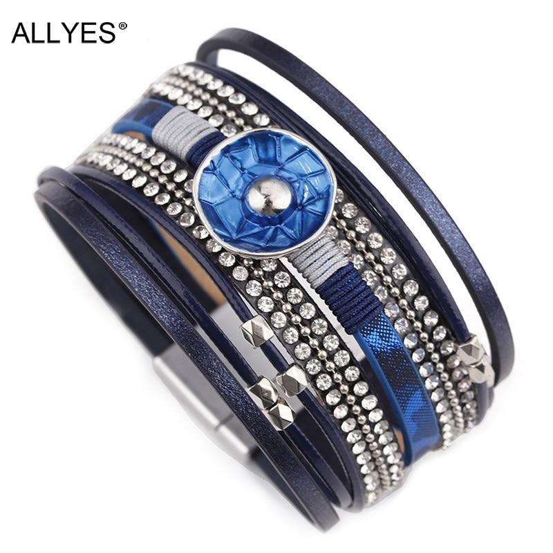 ALLYES Leather Bracelets for Women Blue Enamel Metal Charm Female Multilayer Wrap Wide Bracelet Femme Jewelry allyes women leather bracelet femme metal charm cystal bohemian female multilayer wide wrap bracelets