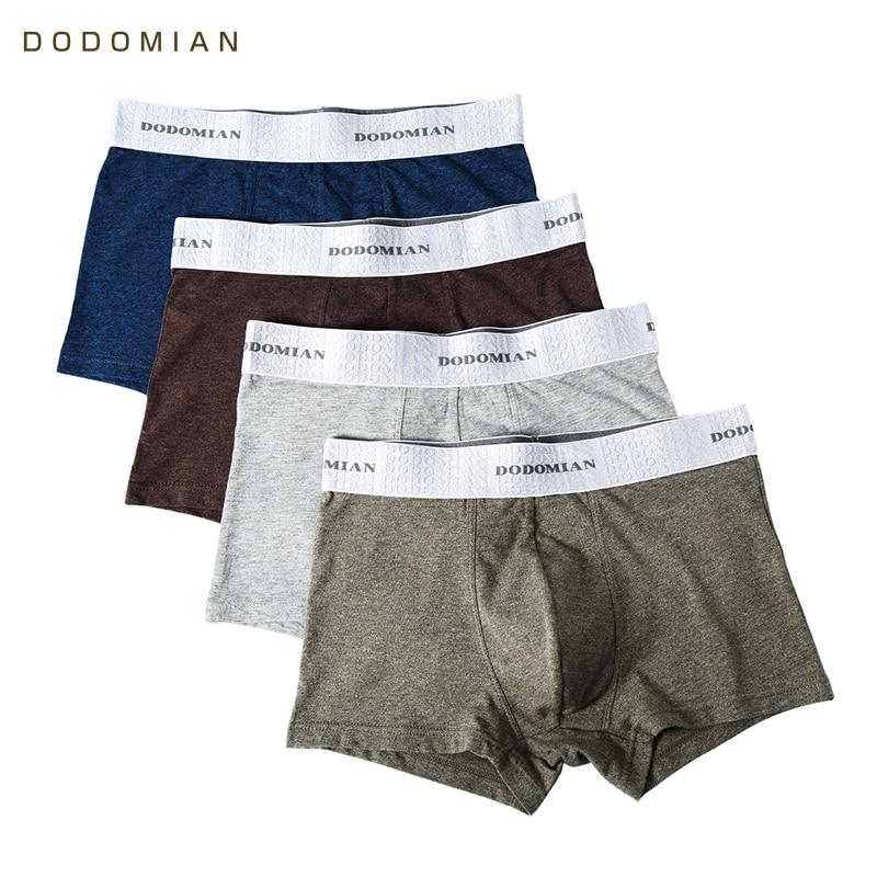 4pcs\lot Male Underwear DODOMIAN Elastic Wide Belt Men Underpant Solid Cotton Panties Model Boxer Sexy Plus Size Boxer