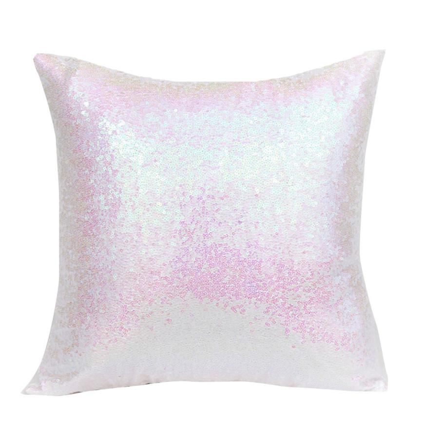 HOMEGD Solid Color Glitter Sequins Throw Pillow Case Cafe Home Decor Cushion Covers 18Apr3 Drop Ship