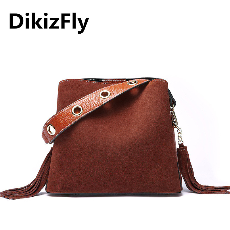 DikizFly Genuine Leather Tassel Tote Bags Women Handbag brand bag female Bucket shoulder bags high quality leather Messenger Bag hibo women leather handbags women bags messenger bags shoulder bag high quality handbag female pouch