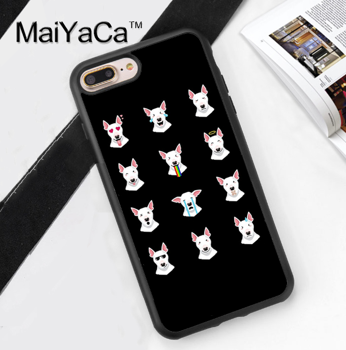 Funny Bull Terrier Emoji Printed Soft Rubber Phone Cases For Apple iphone 6  Case For iphone 6S 6Plus 7 7Plus 5 5S 5C SE 4S Cover-in Fitted Cases from