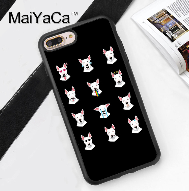 Funny Bull Terrier Emoji Printed Soft Rubber Phone Cases For