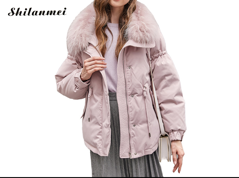 2018 Winter Woman Thicken Warm Long Sleeve Fur Collar Pink   Down     Coat   Female Casual Loose Outwear   Coat   and Jacket Pink Overcoat