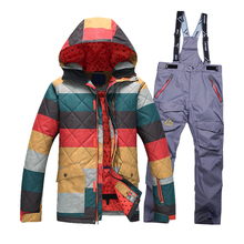 New Ski Jacket Men Waterproof Winter Snow Jacket + pants Thermal Coat Outdoor Mountain Skiing Snowboard Jacket ski suit