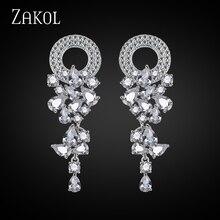 ZAKOL Ronda y Marquise Forma Circonita Imitación de Diamante de Novia Pendiente de Gota Largos para Las Mujeres FSEP154