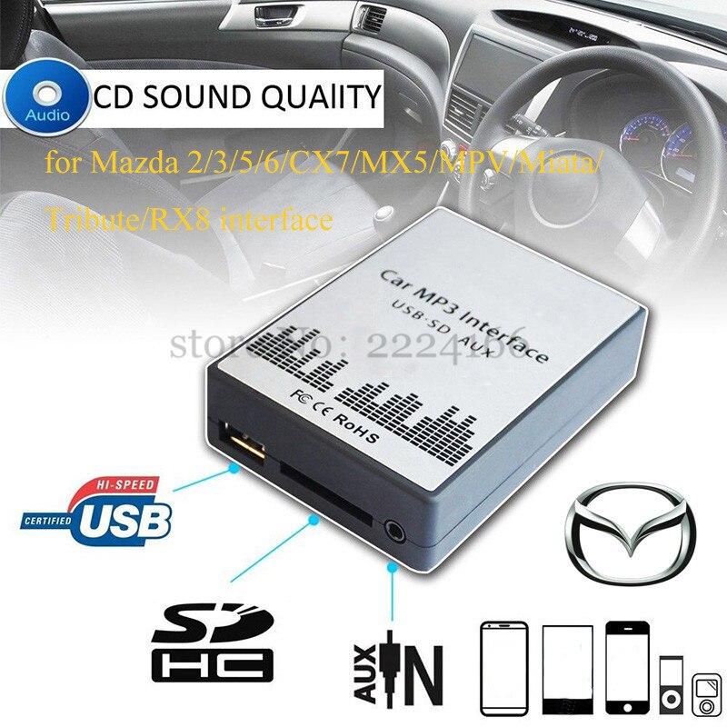 Yomikoo Car USB//SD Mp3 Player Interface AUX in Adapter Connect 3.5mm for Mazda 3 5 6 323 Miata Mazdaspd Protege Mx5 MPV Rx8 B-Series Pickup CX7 Miata Tribute