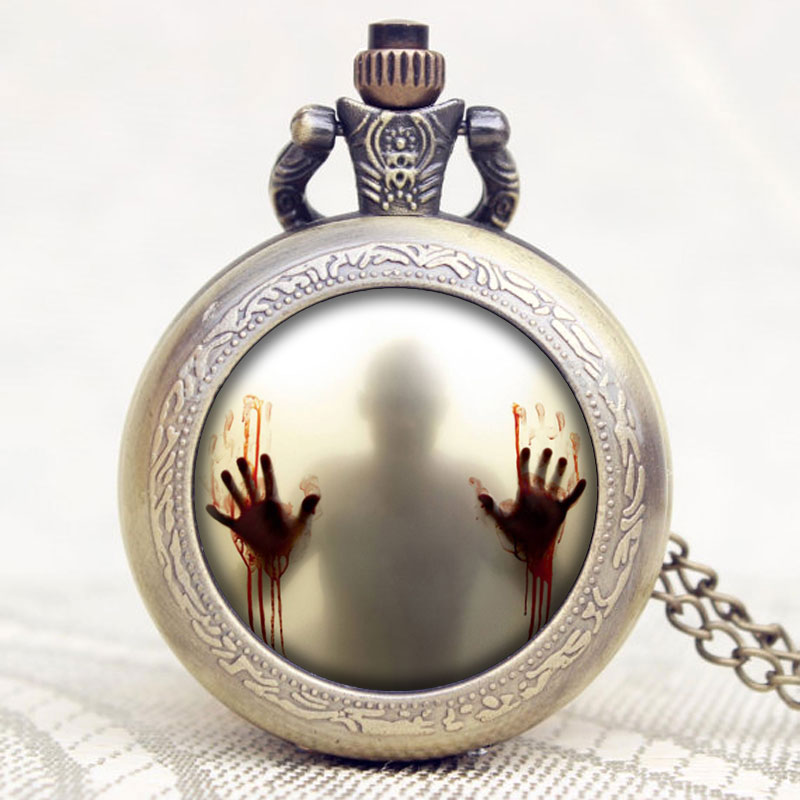 The Walking Dead Theme Zombie Design Glass Dome Bronze Quartz Pendant Pocket Watch Best Gift To American Drama Fans