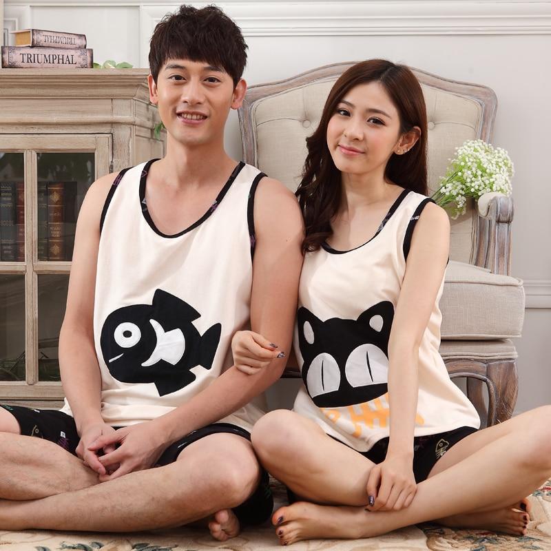 Fashion Summer Sleeveless Pajamas Couple Pyjamas Sets Women Sleepwear Men Home Cloths Cute Nightclothes Suit For