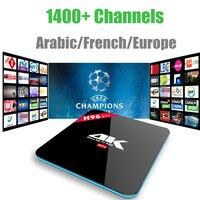 Android 7.1 Boîte IPTV H96 Pro S912 Avec 1400 + Canaux Europe français Arabe Italie Turc 4 K lecteur multimédia Android Smart tv boîte