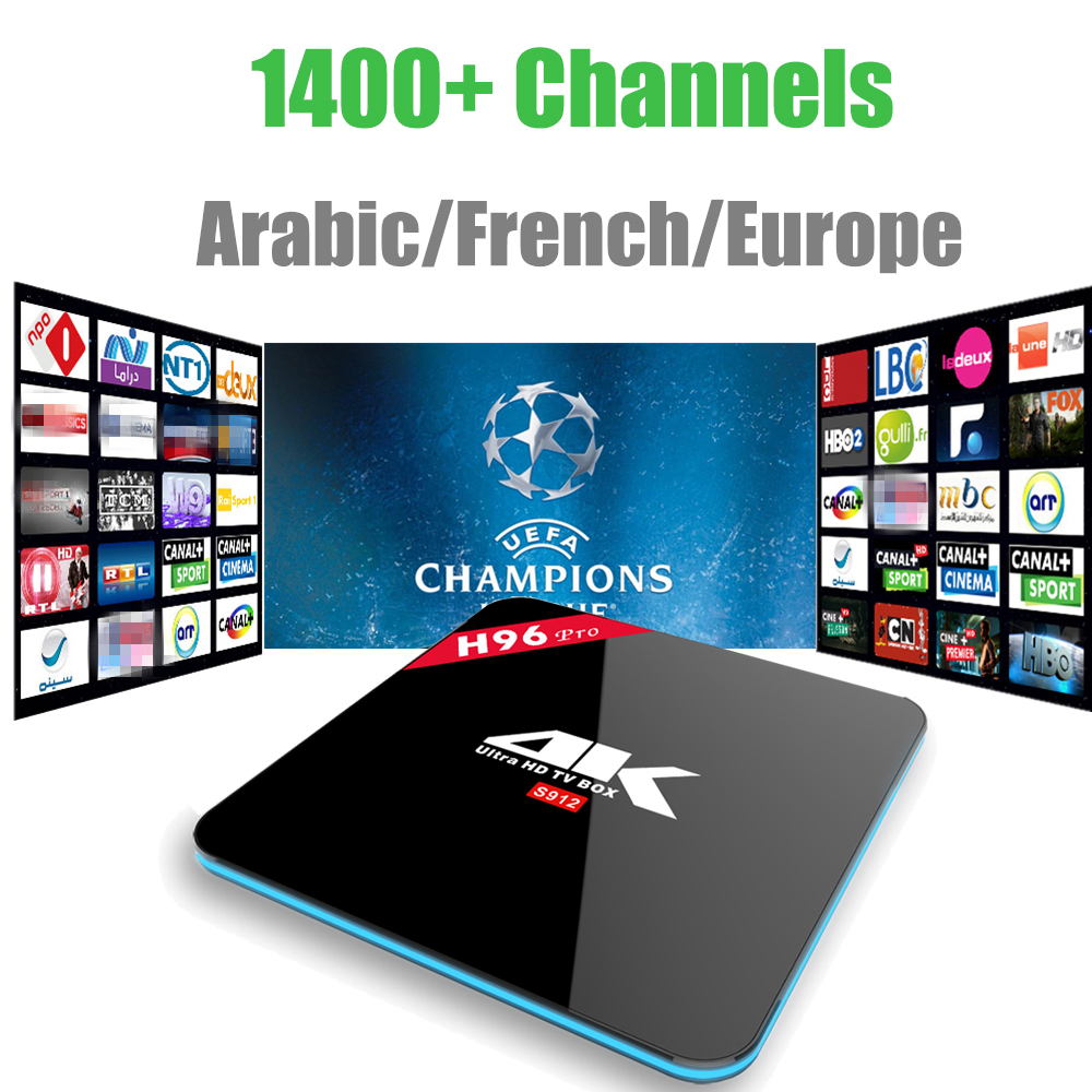 Android 7.1 IPTV Box H96 Pro S912 With 1400+Channels Europe French Arabic Italy Turkish 4K media player Android Smart tv box
