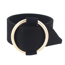 Contracted joker circle round flannelette bangle bracelet wrist strap metal buckle