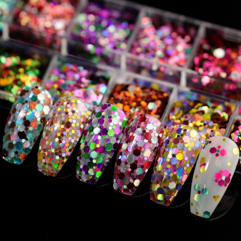 12 Grids/set Nail Glitter Sequins mixed colors Holo Thin Round/Hexagon Paillette Nail Art Flakes  Manicure Accessories tips