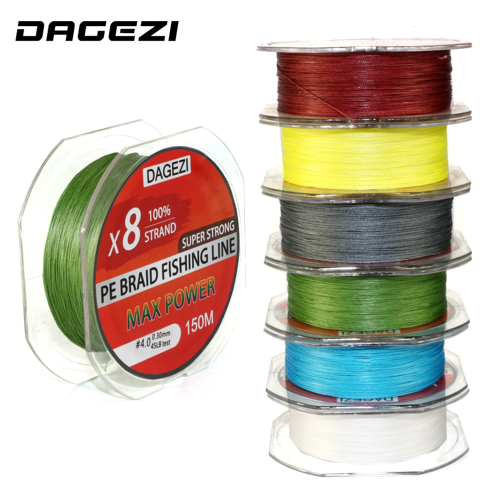 DAGEZI 8 strand 150m 10-80LB Super Strong 100% PE Braided Fishing Line smooth line With Gift brand fishing lines 6colors