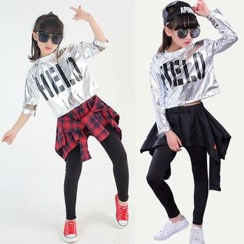 Muchachas de baile moderno Jazz Hip Hop danza conjunto traje para niño  camiseta Pantskirt etapa ropa 4110f72a2e6