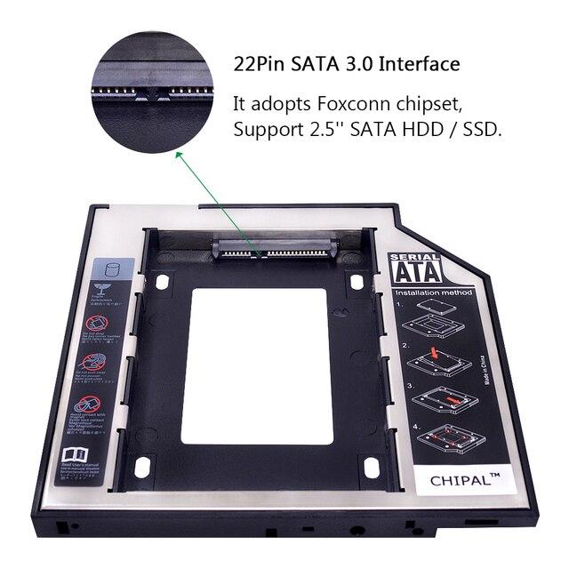 """CHIPAL Universal SATA 3,0 2nd HDD Caddy 9,5mm para 2,5 """"2TB SSD carcasa de disco duro con LED para portátil DVD-ROM Bahía óptica"""