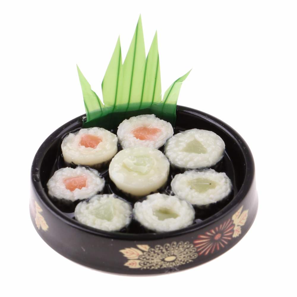 Round Plate Gift 1//6 Doll House Miniatures Decor Vivid Japanese Food Sushi