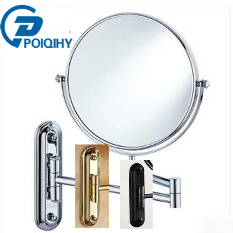 POIQIHY 8' Black antique bronze/ chrome/golden makeup mirror Wall Mounted Bathroom Mirror Double Side Magnifying Makeup Mirror цена