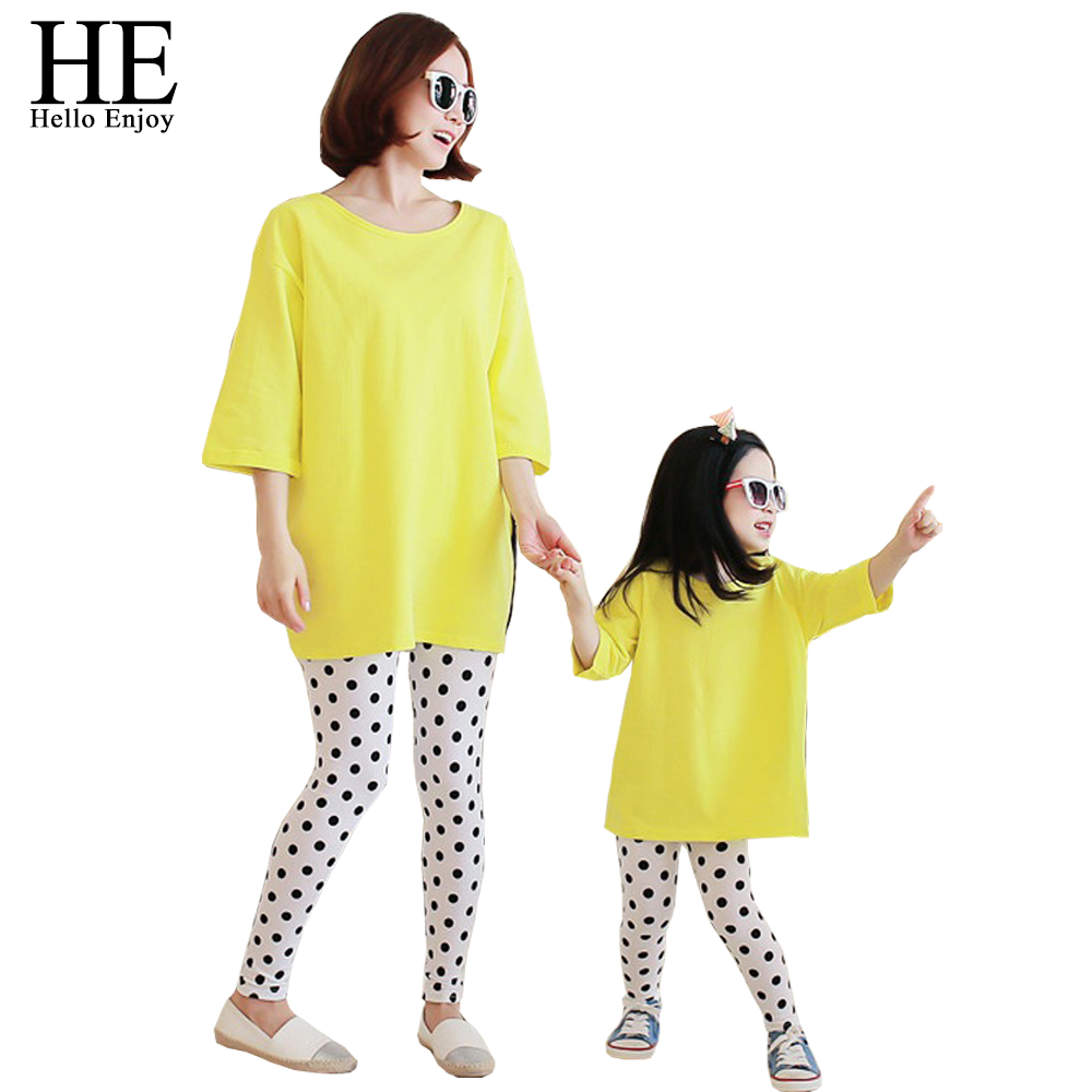 HE Hello Enjoy Family Matching Outfits 2016 autumn casual mother and daughter clothes (Loose T-shirt + dot pants) clothing set