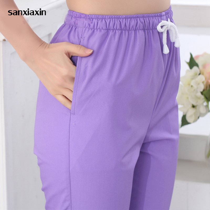 Sanxiaxin New Work Trouser Doctor Nurse Uniform Bottoms Cotton More Pockets Dental Medical Scrub Pants SPA Nursing Scrub Pants