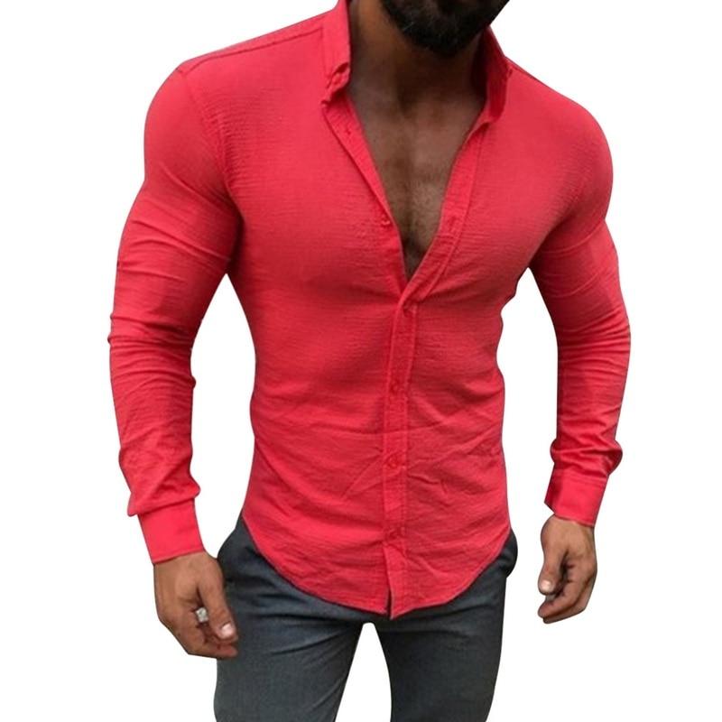 CALOFE Spring Men Long Sleeve Casual Slim Fit Shirt Button Casual Male Solid Shirt Summer Fashionn Shirt Camisa Masculina
