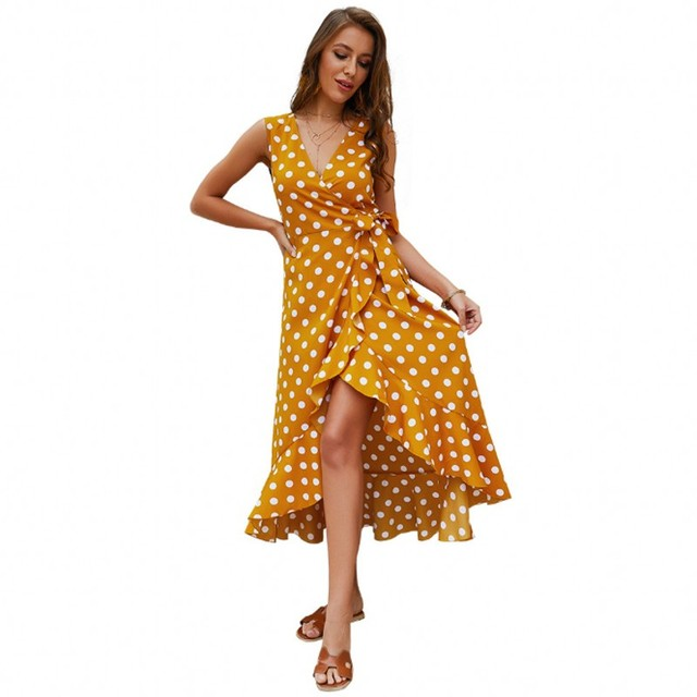 8791b094ffaf4 US $15.4 30% OFF|Aliexpress.com : Buy Zmvkgsoa Women Boho Polka Dot Summer  Beach Long Dress Party V Neck Split A Line Maxi Dress Prairie Chic Femme ...