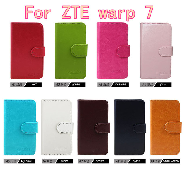 2016 Case New Flip Fashion Business Magnetic Clasp Ultrathin Flip Leather Case For ZTE warp 7 N9519 Card Slots Free DHL