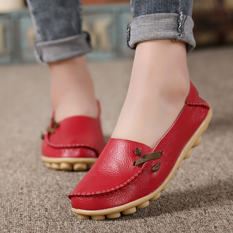 2018 Flat Shoes Women Ballerina Flats Walking Genuine   Leather   Slip On Shoes Work Loafers Female Lady Soft Flats Zapatos De Mujer