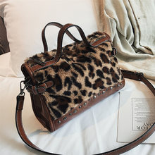 b83122198217 Leopard totes handbags Women velour shoulder bags Rivet Fashion 2018  crossbody bags new zipper High capacity hand strap handbags