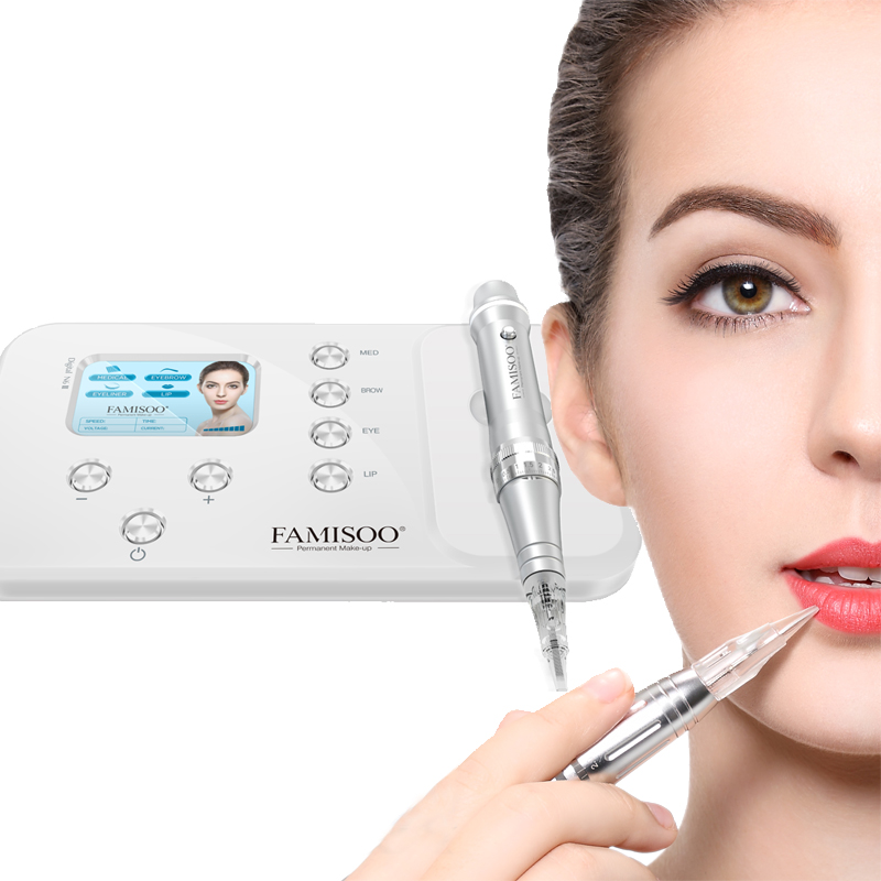 FAMISOO N6II Machine Tattoo Digital Electric Eye Brow Lip Rotary Pen MTS PMU System Makeup Machine Rotary Tattoo Machin