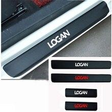 4 Pieces Car Door Window Protector Sticker Carbon Fiber Vinyl for Renault Logan