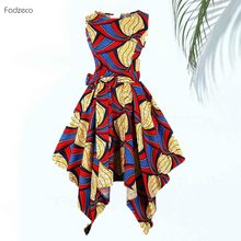 Fadzeco mode élégante femmes africaines Dashiki robe robes Sexy sans manches grande taille irrégulière ourlet Midi Ankara robes africaines(China)
