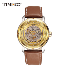цены 2016 Luxury TIME100 Men's Automatic Self-wind Mechanical Skeleton Watches Brown Leather Strap Gold Dial Automatic Watch For Men