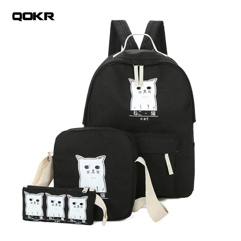 Women Backpack Cat Printing Canvas School Bags For Teenager Girls Preppy Style 3PCS/SET  ...