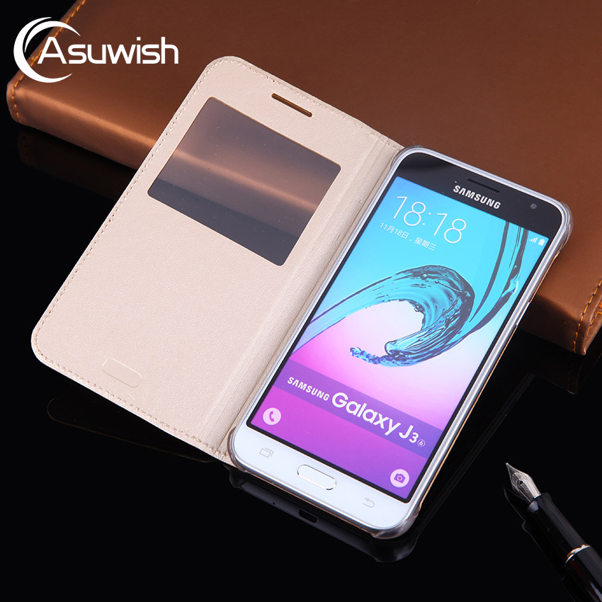 Flip Cover Leather Phone Case For Samsung Galaxy J3 2016