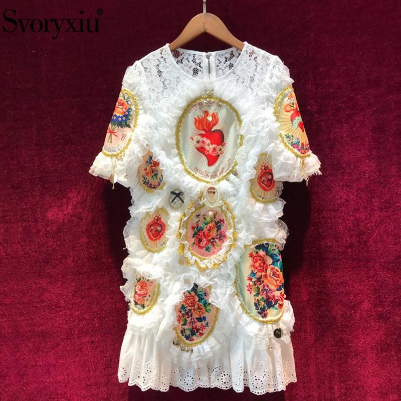Svoryxiu Women's Summer 활주로 luxury 흰 레이스 Dress Short Sleeve Vintage 꽃 Print 펜 던 트 자 수 자 드레스 암-에서드레스부터 여성 의류 의  그룹 1