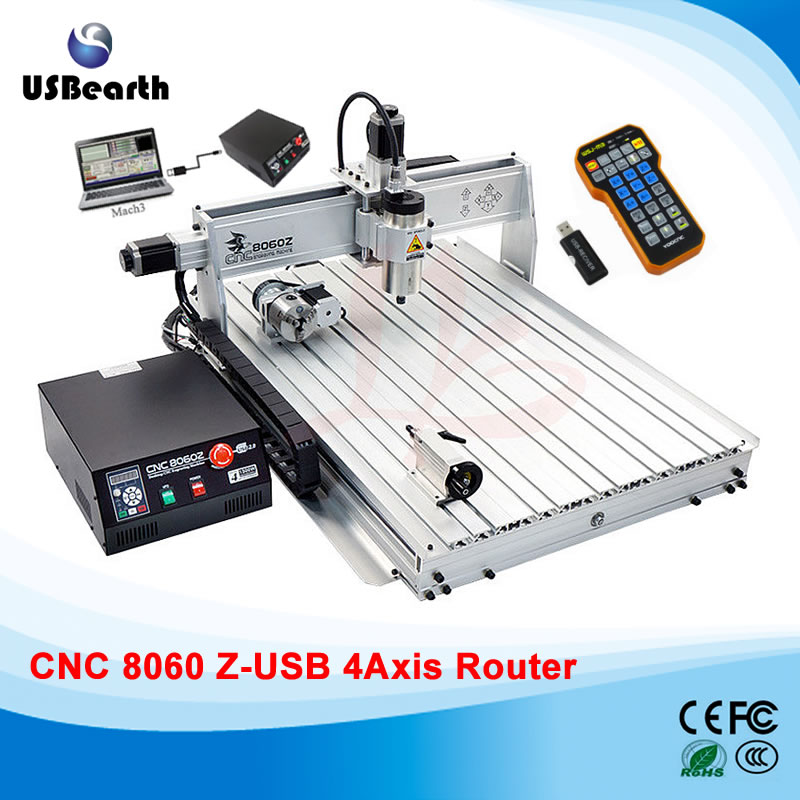CNC Router 8060Z 2200W VFD water cooled Spindle CNC Machine with USB Port, 4 axis cnc cutting machine with free handwheel 4 axis cnc router 6040 2200w water cooled cnc spindle mini metal woodworking cutting machine