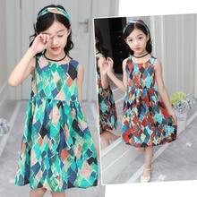 Summer Girls Princess Dress Children Sleeveless with Hair Band Kids Cute Geometric Clothing