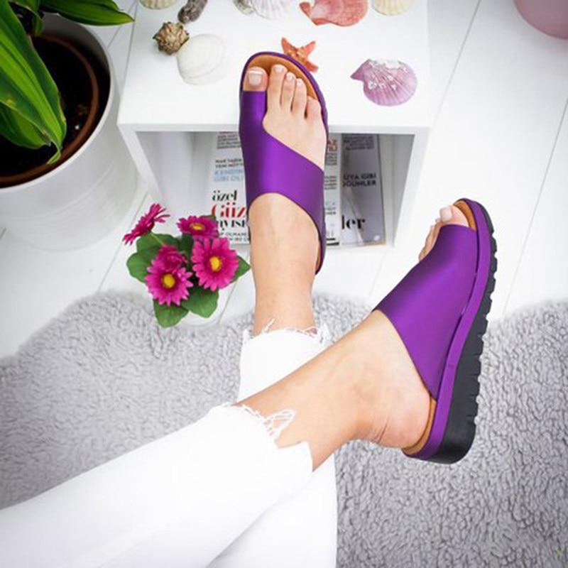 Women PU Leather Shoes Comfy Platform Flat Sole Ladies Casual Soft Big Toe Foot Correction Sandal Orthopedic Bunion Corrector 3