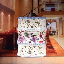 Китайский Стиль Классический Белый Керамический Абажур Столовая E27 AC 90-260 В Фарфор Подвесные Светильники Для Дома
