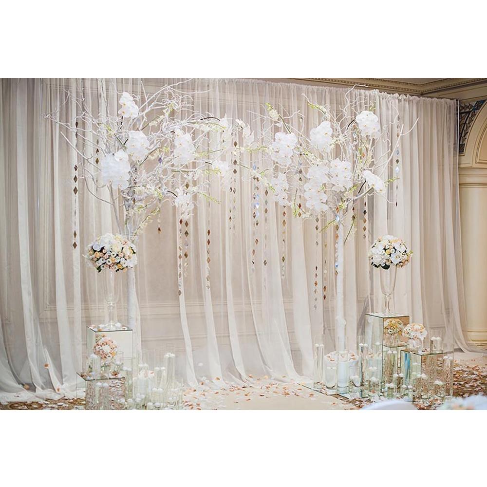 Interior Room White Curtain Wedding Photography Backdrop
