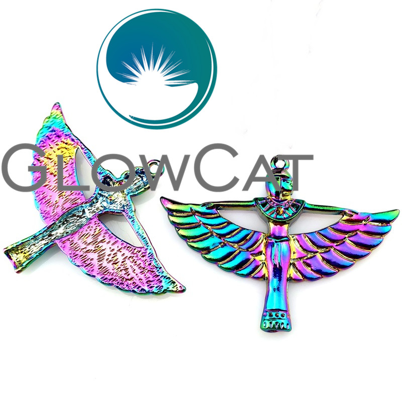 10X 22188 Rainbow Color Egyptian <font><b>Winged</b></font> Goddess <font><b>Isis</b></font> Metal Pendants Jewelry DIY Making Findings Charms 42x56mm image
